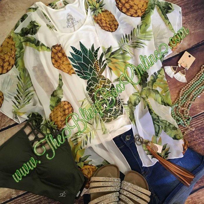 White Pineapple Kimono