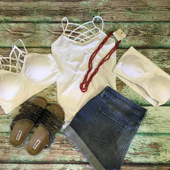 White Criss Cross Bra - ONE SIZE