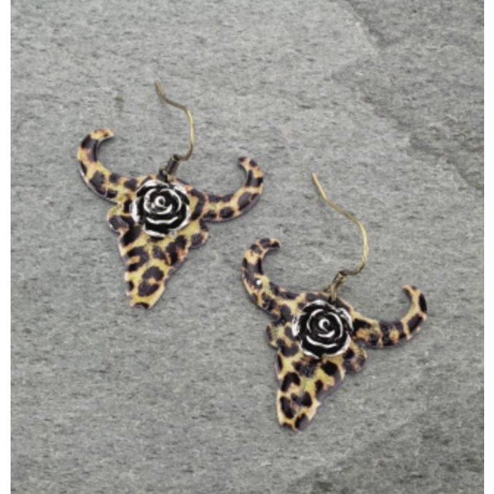 Leopard Rose Bull Skull Earring