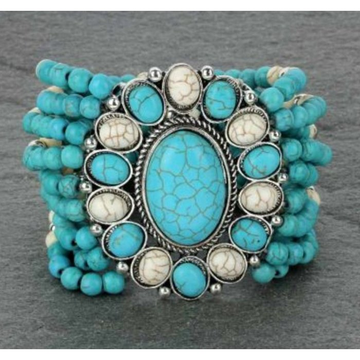 Oval Turquoise & White Stretch Bracelet
