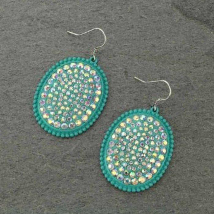 Oval AB Rhinestone Turquoise Earring
