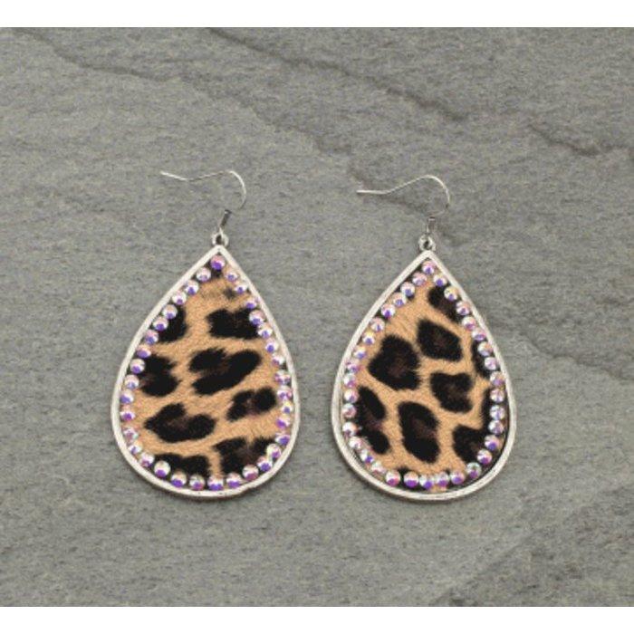 Leopard AB Stone Trimmed Teardrop Earring on Silver Rim