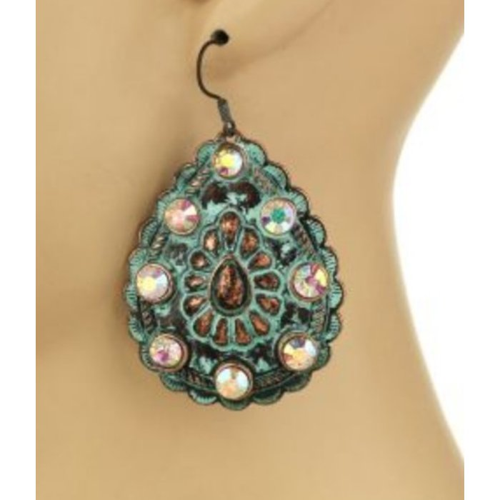 Western Patina Concho Earring with AB Stones