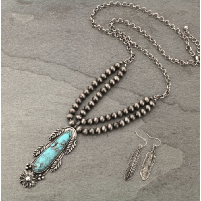 Turquoise Stone Teardrop Silver Navajo Pearl Necklace Set
