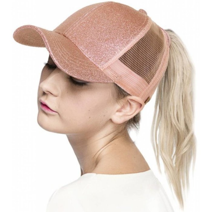 Rose Gold Glitter Ponytail Hat