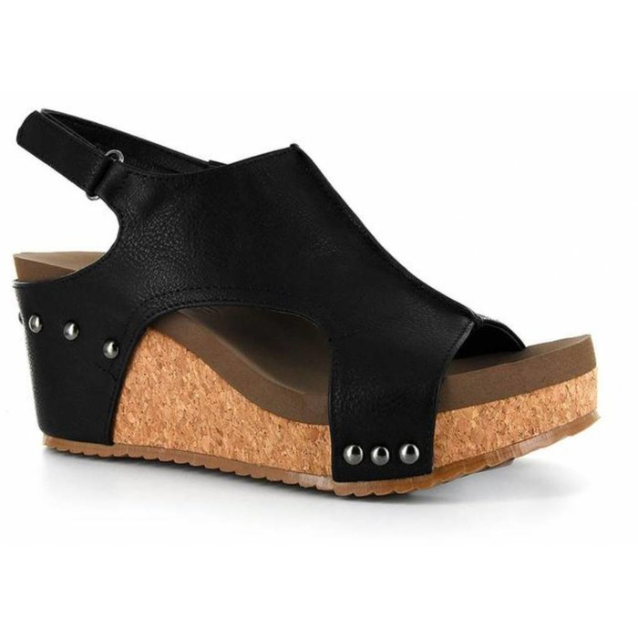 Mulan Black Distressed Wedge
