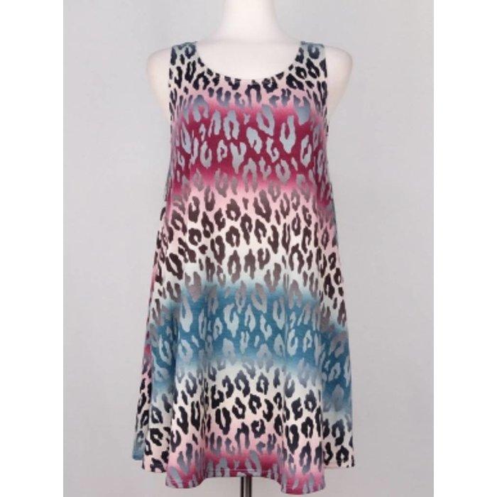 Leopard Sleeveless Dress with Pockets