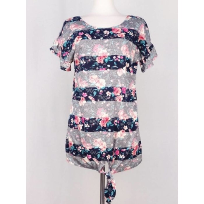 Floral and Striped Knotted Hem Top