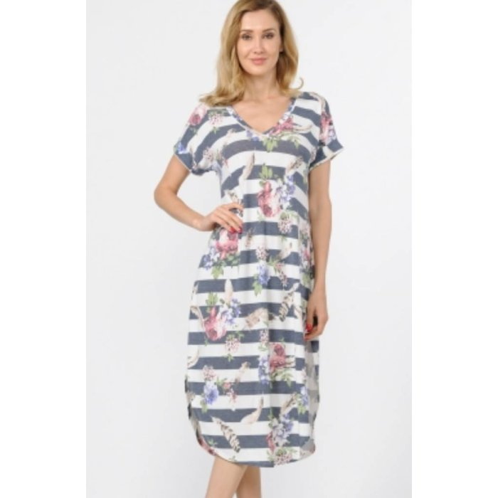 Floral Feather Striped V-Neck Maxi Dress