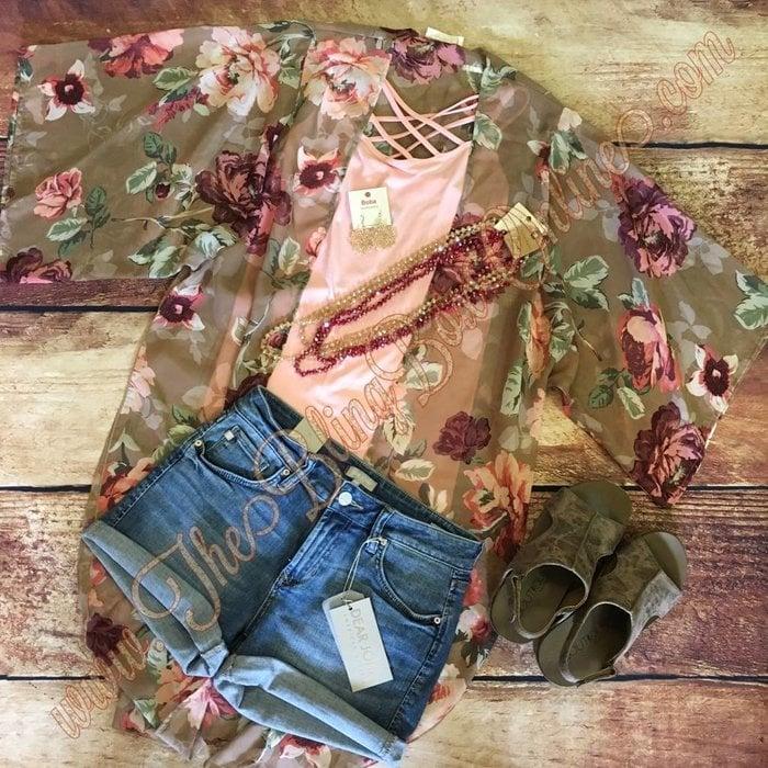 Taupe Floral Kimono