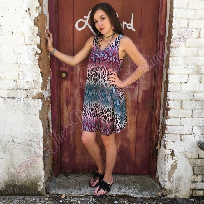 Leopard Sleeveless Dress with Pockets