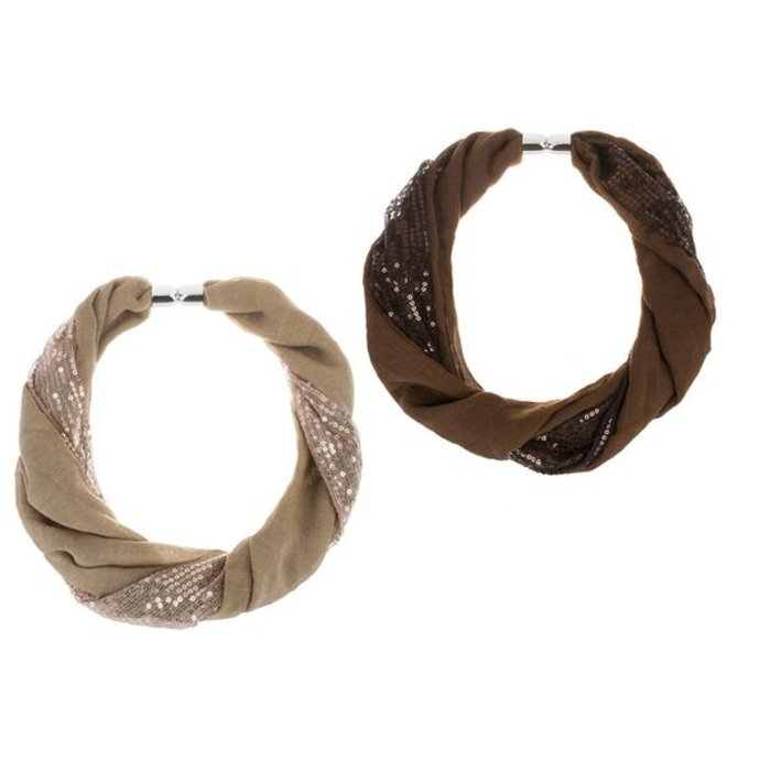 Brown Two Panel Sequin Magnetic Scarf