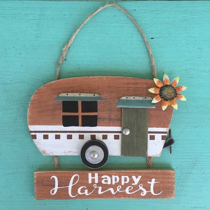 Camper Happy Harvest Hanging Plaque
