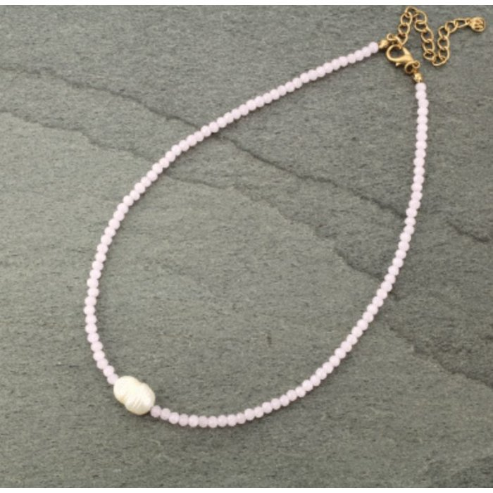 Pink Crystal Choker with Fresh Water Pearl Necklace