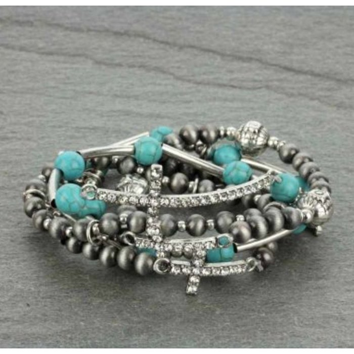 Silver Navajo Pearl Stackable Bracelet with Crosses