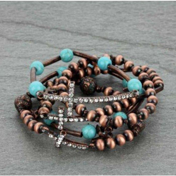 Bronze Navajo Pearl Stackable Bracelet with Crosses