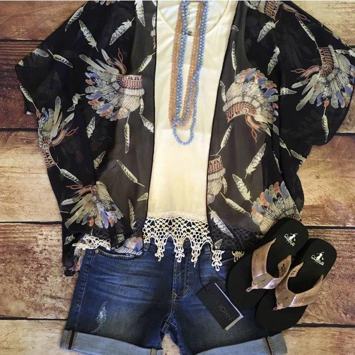 Navy Headdress Kimono