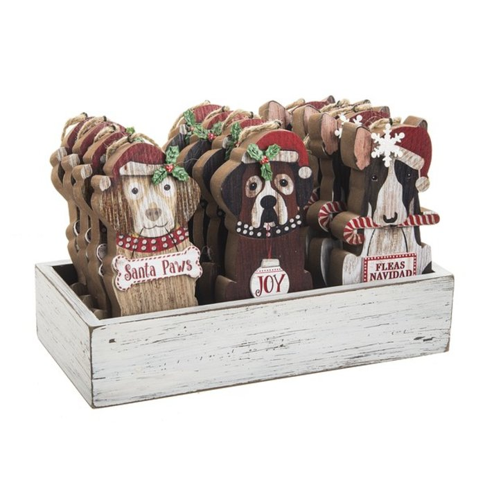 Wooden Santa Paws Dog Ornament