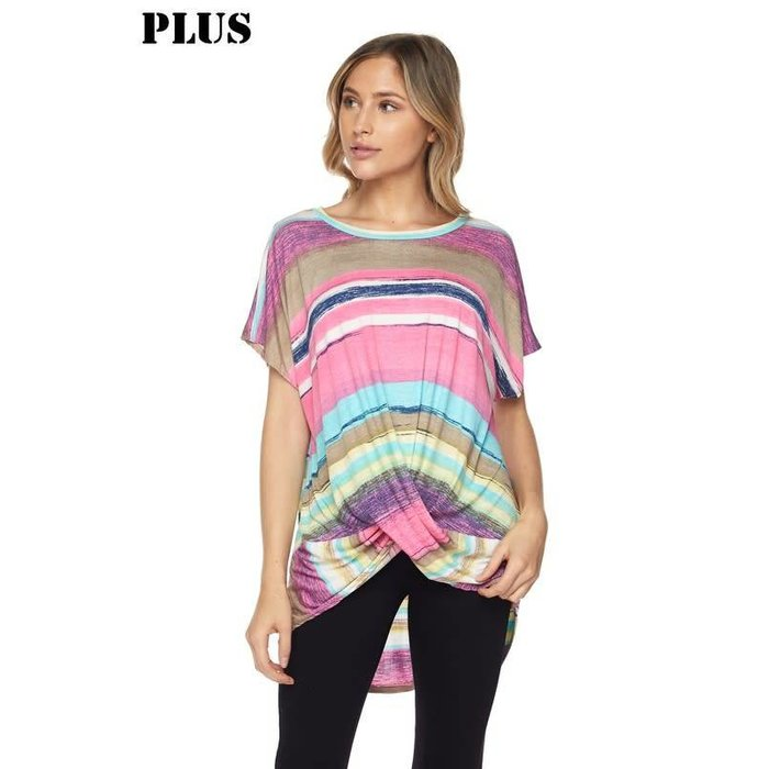 Fuchsia Crayon Stripe Top With Twisted Knot