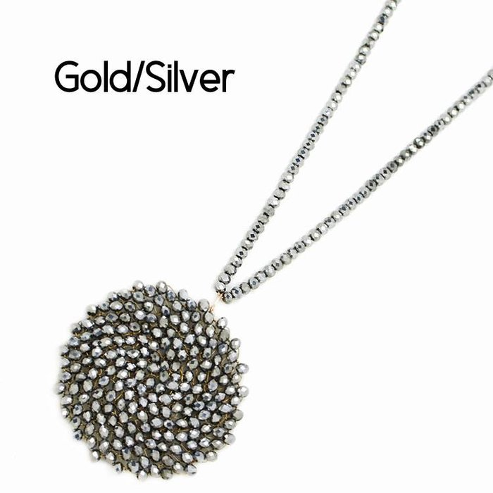 Silver Round Crystal Medallion Beaded Necklace