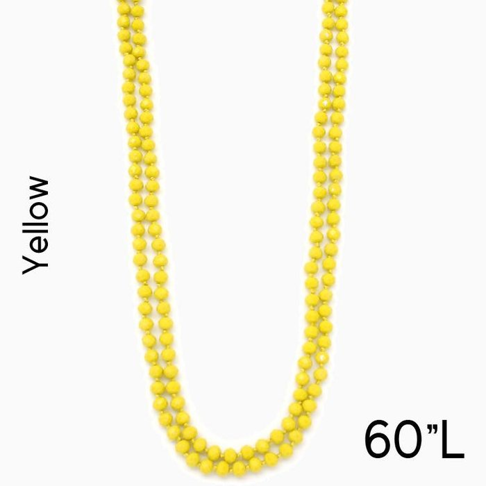 "Yellow 60"" Crystal Knotted Long Necklace"