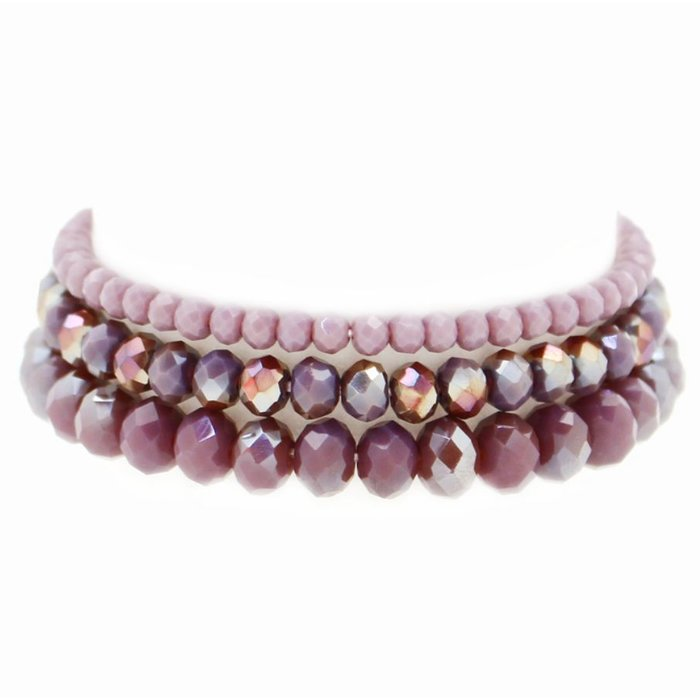 Plum 3 Piece Crystal Bead Stretch Bracelet
