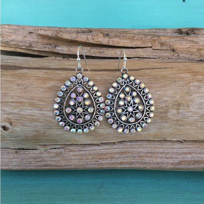 Mini Silver Filgree Teardrop AB Earrings