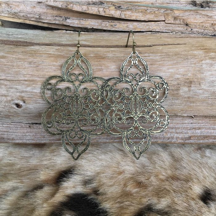 Antique Gold Stenciled Design Earrings