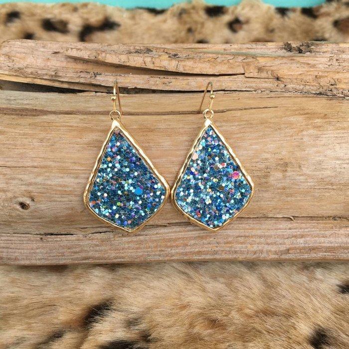 Light Sapphire Sequin Glitter Earrings