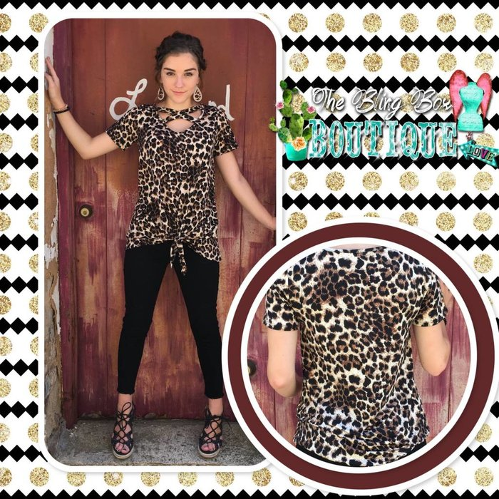 Leopard Criss Cross Top with Front Knot