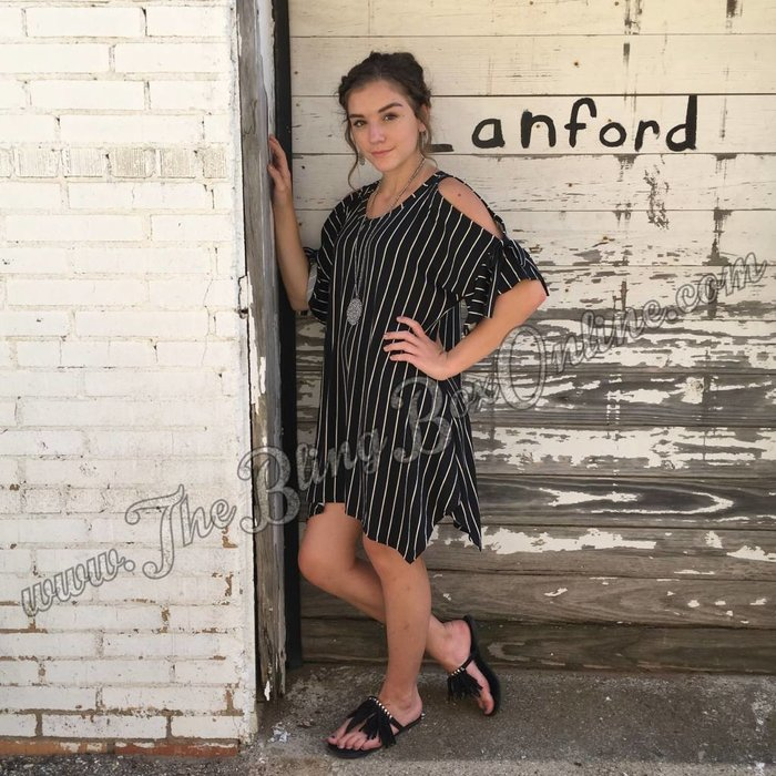 Stripe Tunic Cold Shoulder Top with Bow