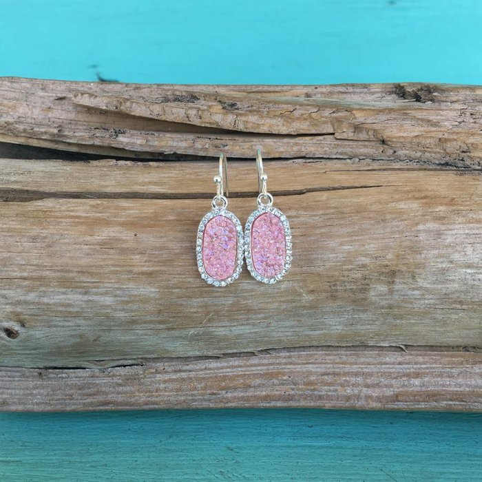 Light Pink Druzy Mini Oval Earring