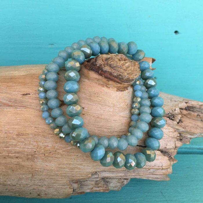 Turquoise 3 Piece Crystal Bead Stretch Bracelet