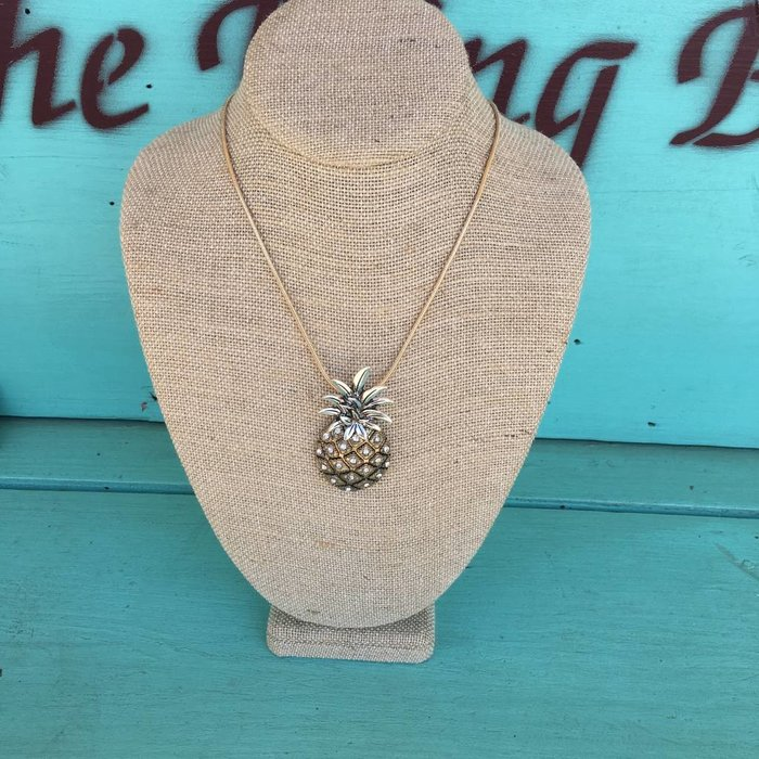 Brushed Gold & Silver Pineapple Necklace Set