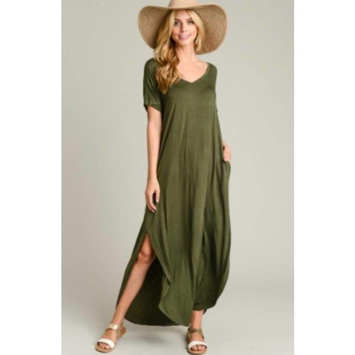 Olive V-Neck Maxi Dress with Pockets