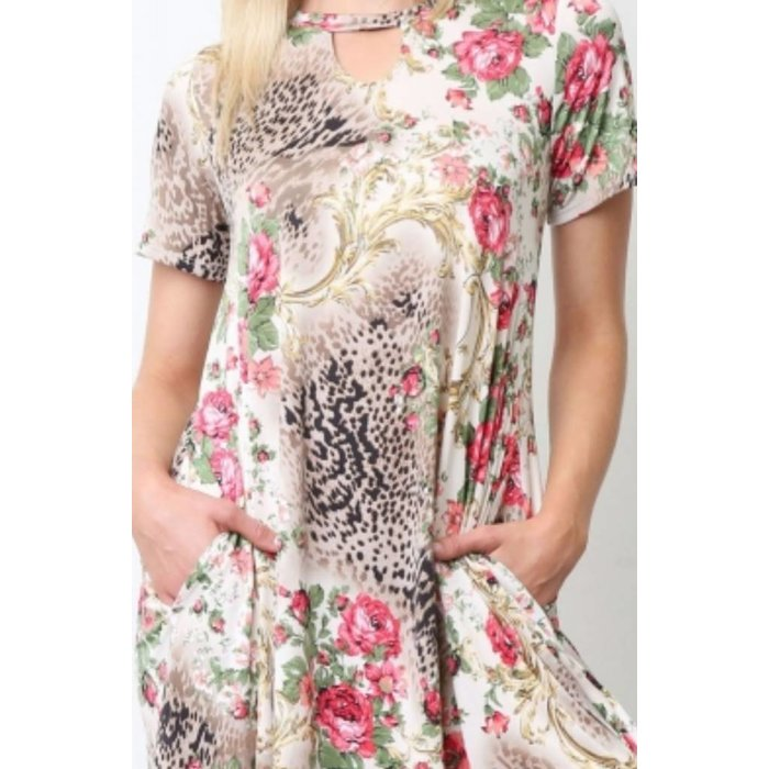 Leopard Floral Choker Dress with Pockets