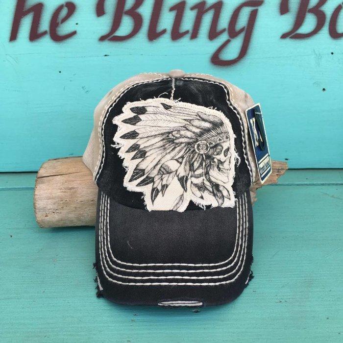 Indian Chief Skull Black & Cream Cap
