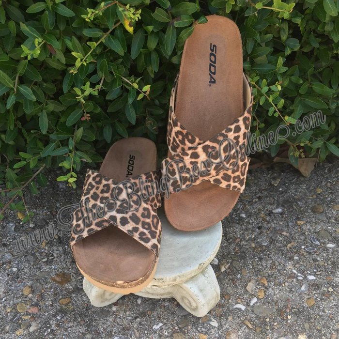 Leopard Cross Banded Sandals