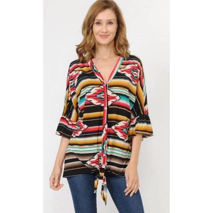 Red Serape Aztec Front Tie Top