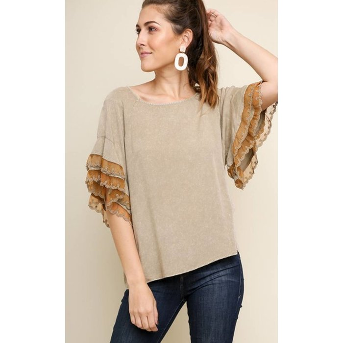 Latte Acid Washed Top with Layered Floral Lace Sleeves