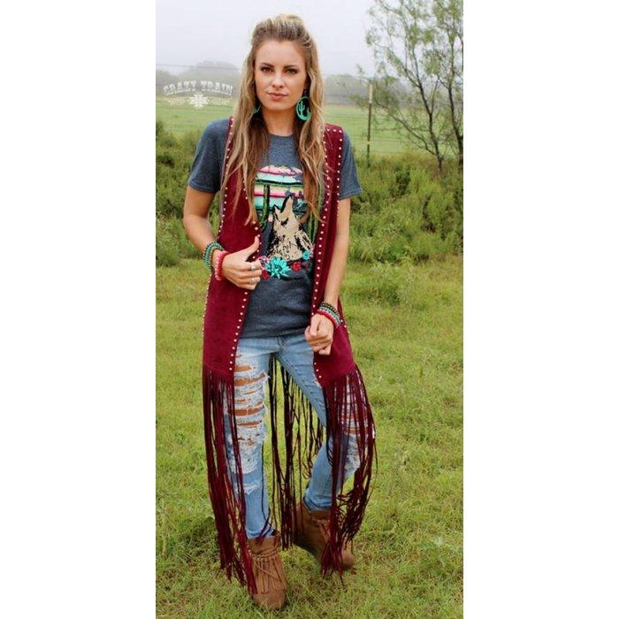 Wyoming Wine Studded Vest
