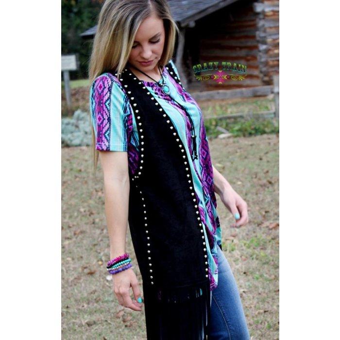 Black Studded Fringe Vest - ONE SIZE