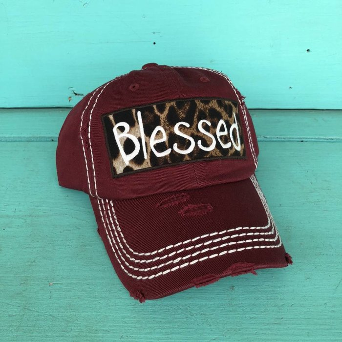 Blessed Leopard Maroon Cap