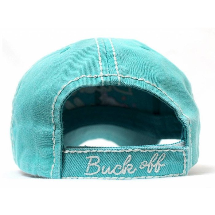 Buck Off Embroidered Turquoise Hat