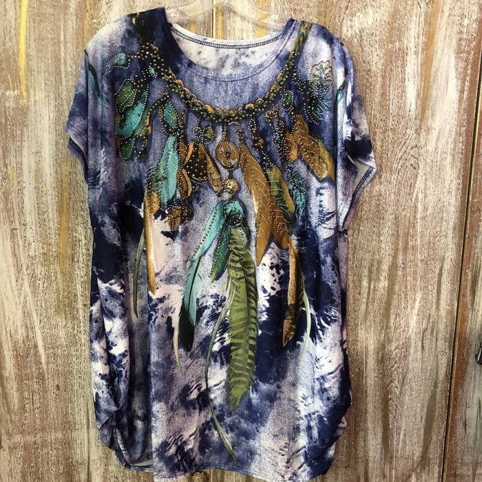 Feather Glitter Denim Print Top - ONE SIZE