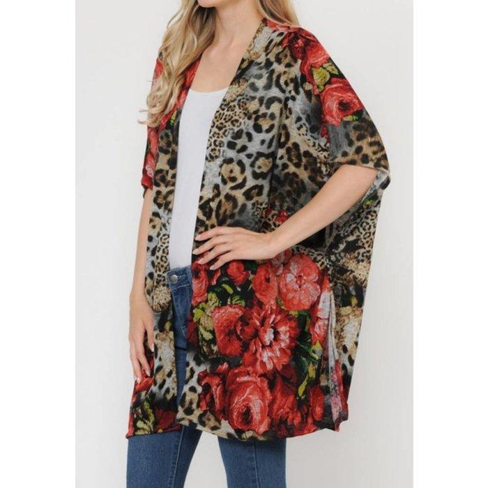 Leopard floral print kimono cardigan