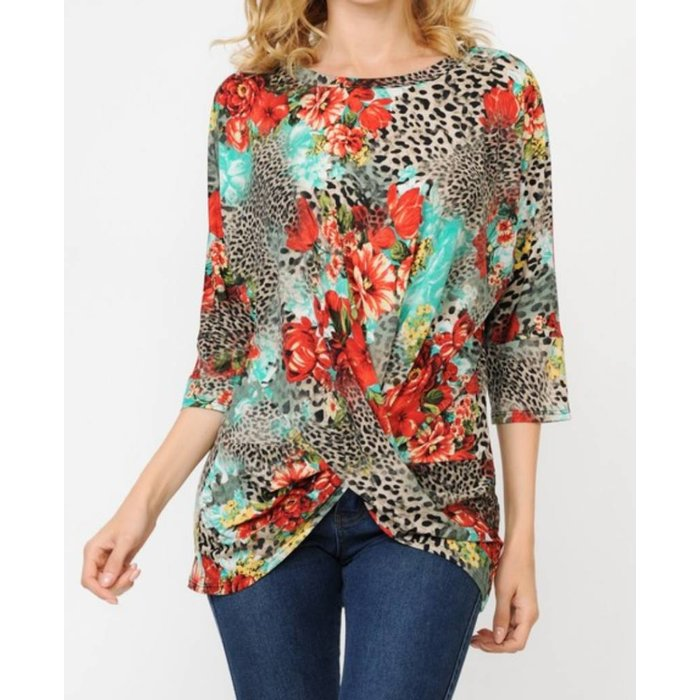 Leopard Floral 3/4 sleeve Twist Front Top
