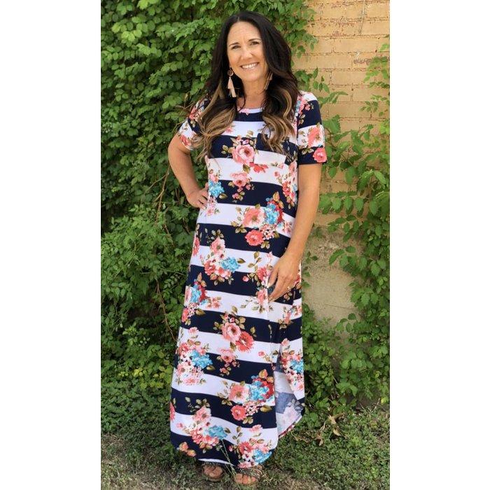 Striped Floral Maxi T-Shirt Dress