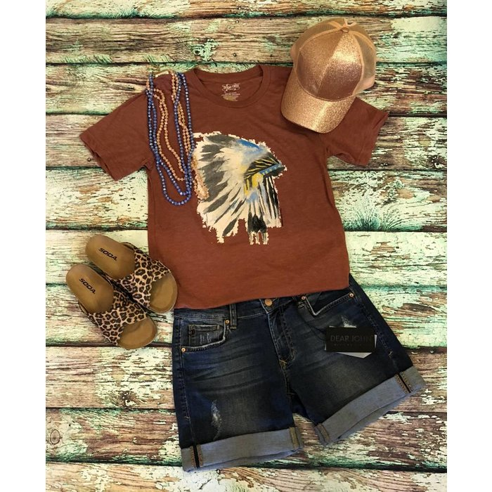 Clay Crew Neck Headdress T-Shirt