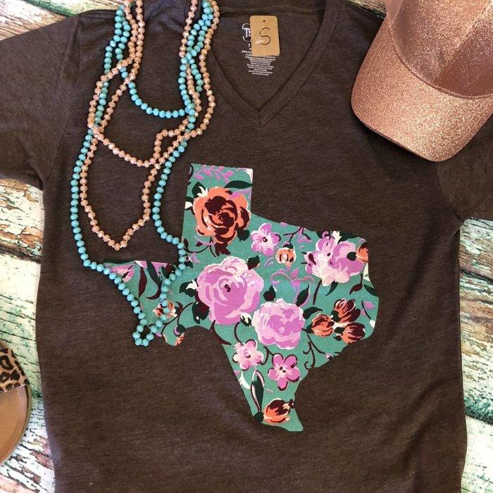 Expresso V-Neck Floral Texas T-Shirt